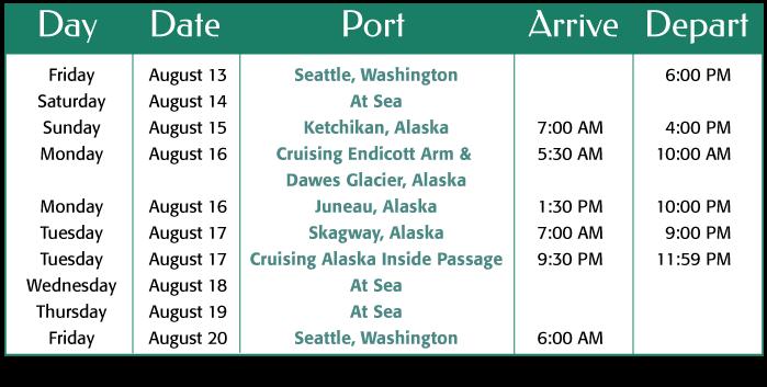 Alaska August 2021 Itinerary